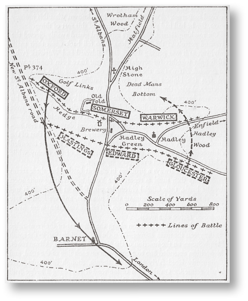 RIGHT Burne's plan of Barnet, 14 April 1471, Warwick's Lancastrian line to the north, running along an east west ridge a mile wide. The hedge-line covering the Lancastrian right is still obvious on the ground today.