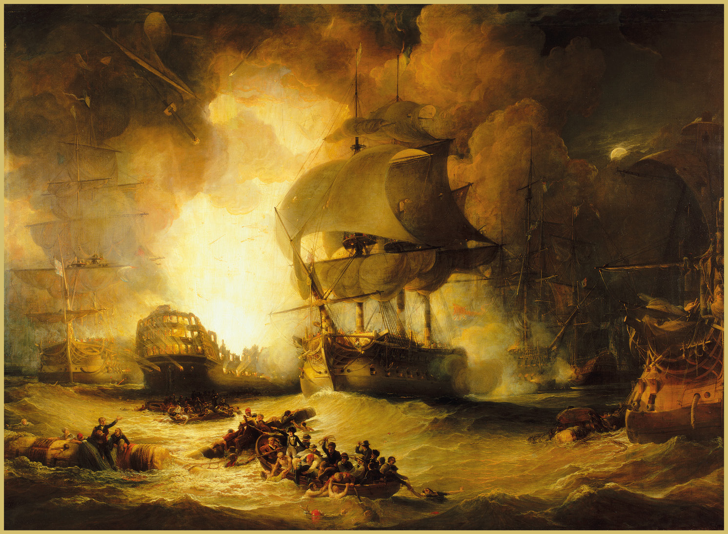 BELOW The dramatic climax of the Battle of the Nile: the French ship L'Orient, the biggest ship in the world at the time, explodes when fire reaches the magazine.