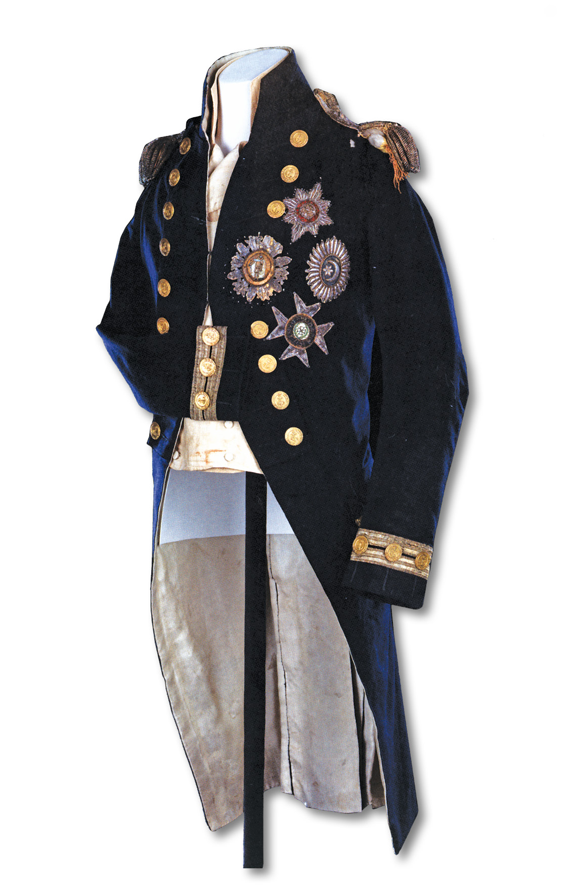 Below Nelson's coat, showing the musket-ball hole in the left shoulder and the torn epaulette.