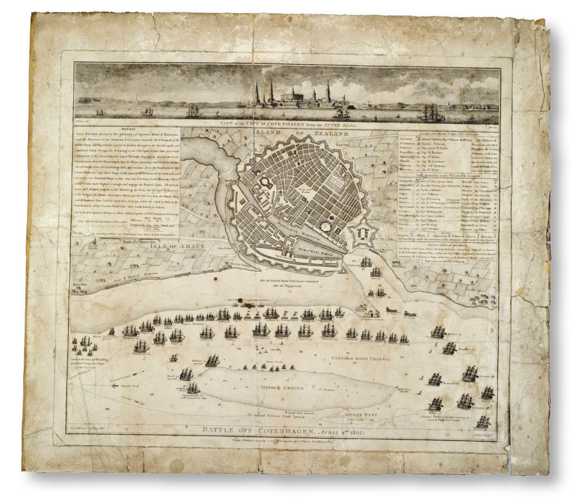 LEFT A contemporary plan of the Battle of Copenhagen, 2 April 1801, when Nelson, in a subordinate role, failed