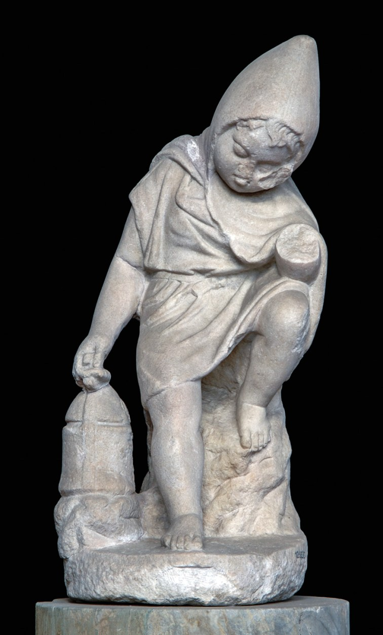 LEFT This statue of a sleeping slave boy dates to the 1st century AD and presents a romantic view of slavery. The boy grasps a lantern to light the way home for his master or mistress, but has nodded off while dutifully waiting. For such children, the realities of daily life could be harsh, while a notorious incident in Nero's reign saw 400 slaves arbitrarily put to death after the murder of their master. Doubtless there were children, like this one, among them.