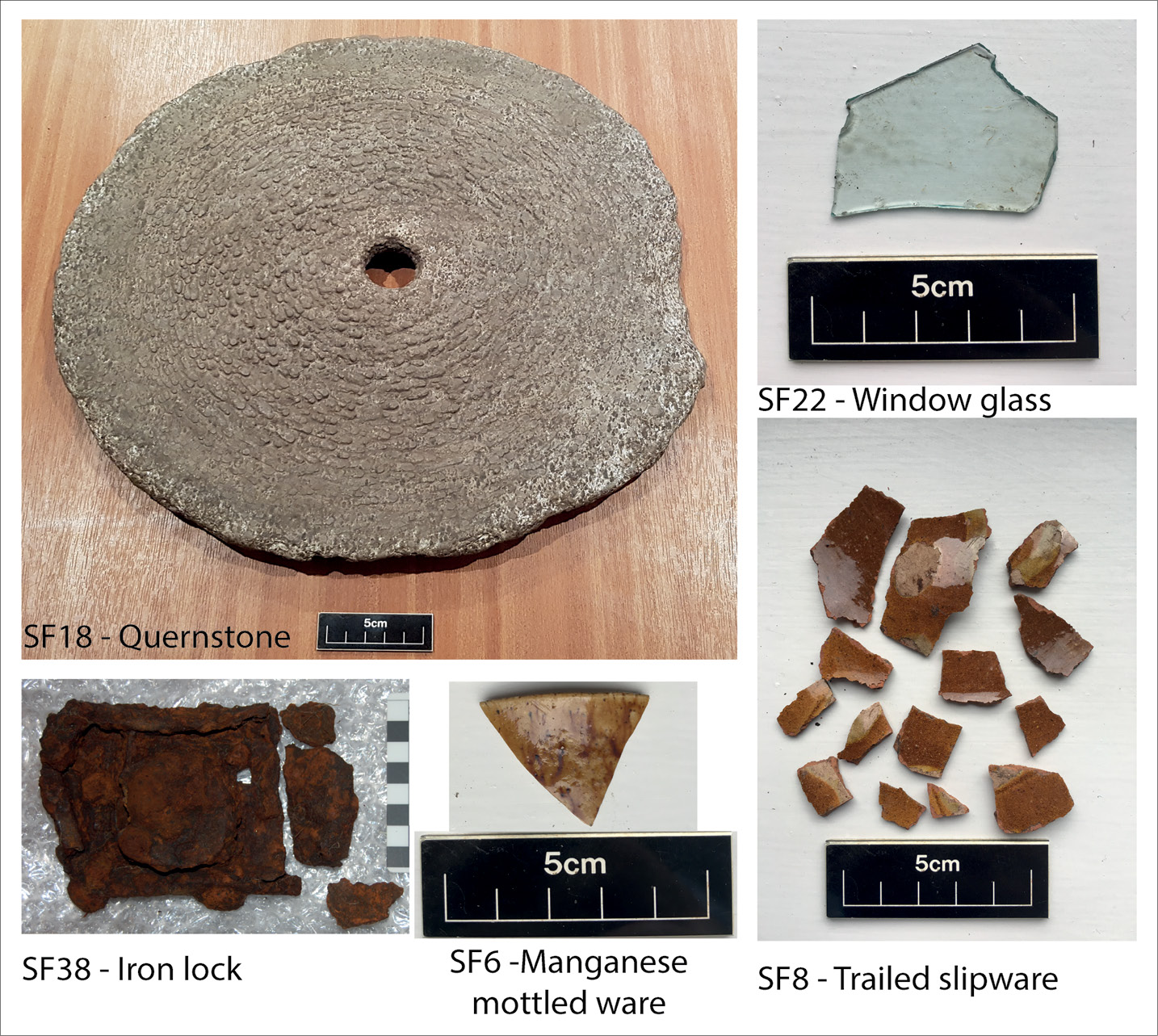 LEFT Some of the artefacts recovered from Structure 1: a quernstone, an iron lock, and fragments of pottery and window glass.