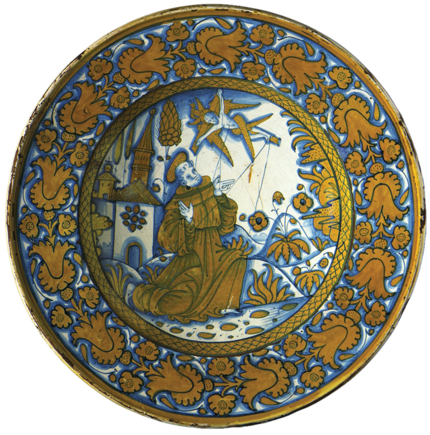 Opposite Maiolica plate with St Francis of Assisi receiving the stigmata. Possibly by Giacomo Mancini (known as El Frate), c.1530-1545. Size: 41cm in diameter