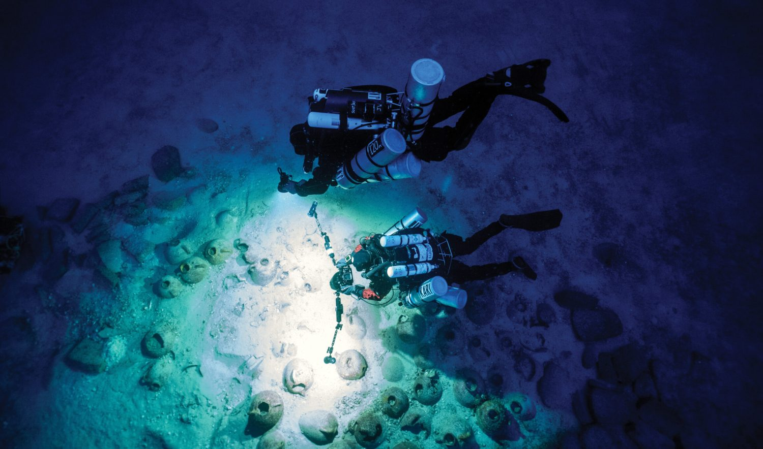 above The discovery of a shipwreck off the coast of Gozo in 2007 provided a rare opportunity to study a Phoenician vessel. Its depth means that divers can only operate safely for a few minutes; here team members are filming high-definition footage in order to create a 3D reconstruction of the wreck.
