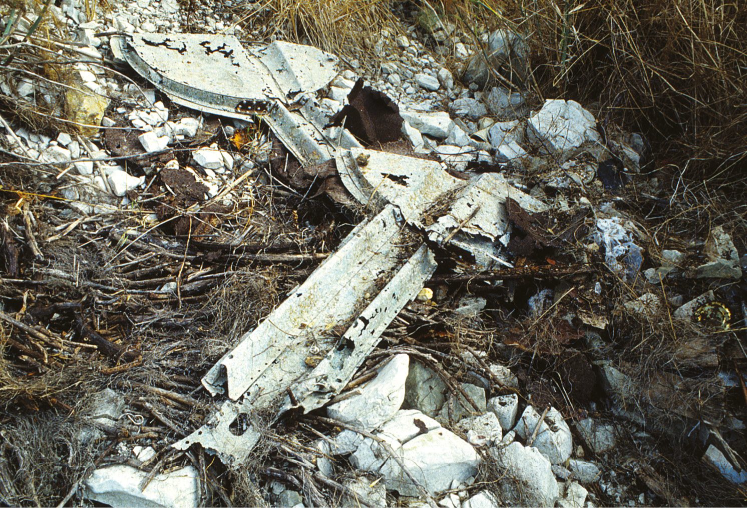 LEFT Spitfire undercarriage doors at Ta' Qali in 1989.