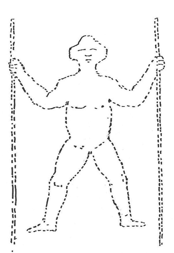 right The Long Man as drawn by John Rowley in 1710. By the time this drawing was produced, the disintegrating Tudor brick figure whose remains have been excavated on the site would have been grassed over.