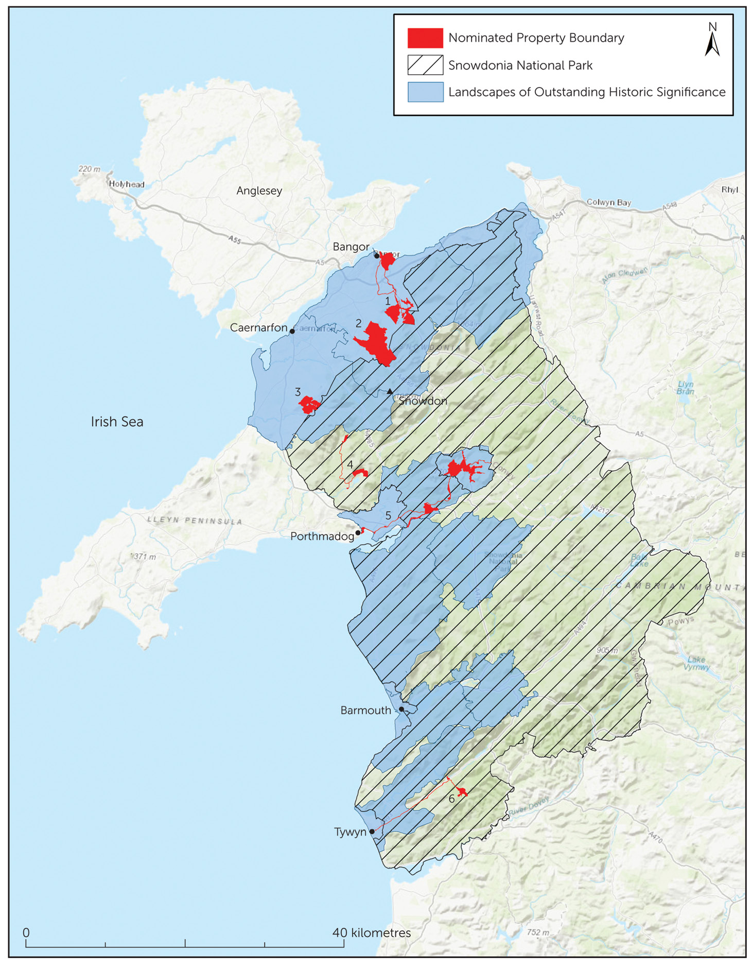 above The newly designated World Heritage landscape, with the component parts coloured red, along with the protected landscapes of the Eryri (Snowdonia) National Park (diagonal lines), and the associated Landscapes of Outstanding Historical Significance (blue).