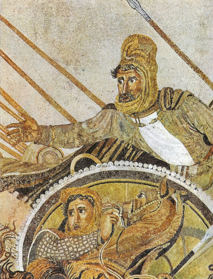 RIGHT Darius, the Persian King of Kings, as depicted on the Alexander Mosaic a pejorative, orientalist caricature.