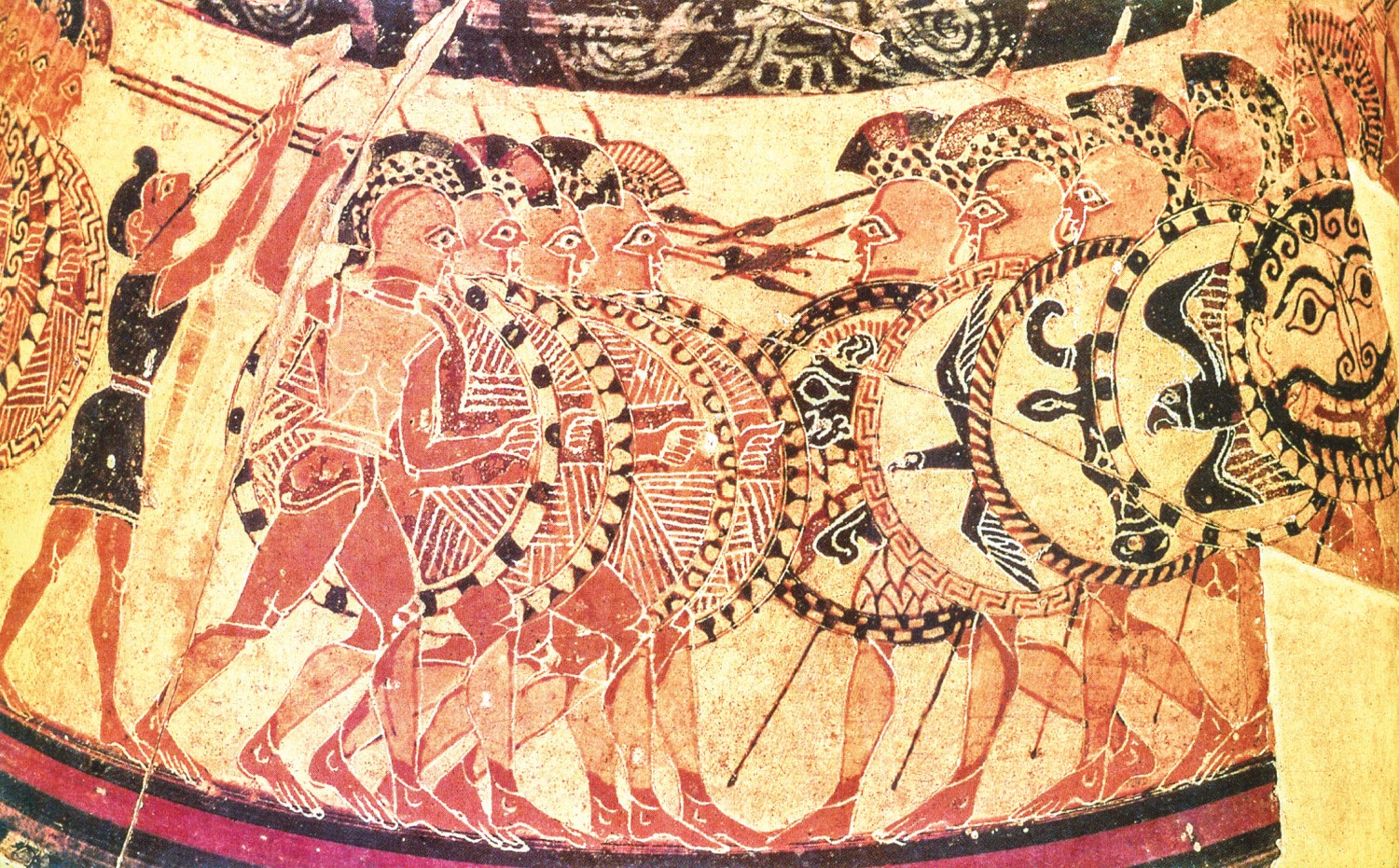 Two ways of war, the Western and the Eastern. The famous Chigi vase depicts a collision of two Greek hoplite phalanxes [ABOVE]. Glazed-tile reliefs from Susa show Persian Immortals, the imperial bodyguard, with bows and spears, and wearing relatively little armour [BELOW]. Shock action was at the centre of one military system, mobility and shooting at the centre of the other.