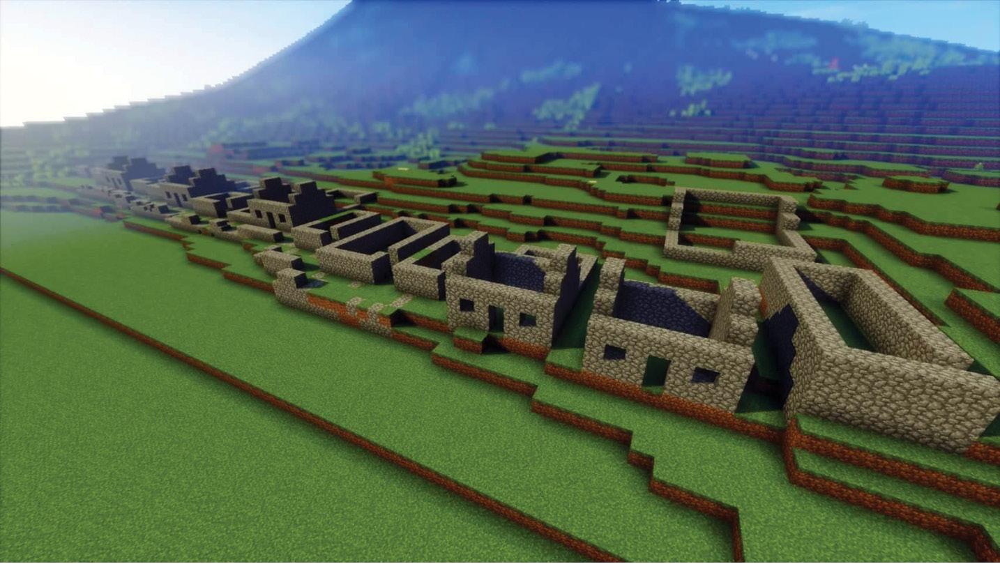 left Digital St Kilda, recreated in Minecraft.