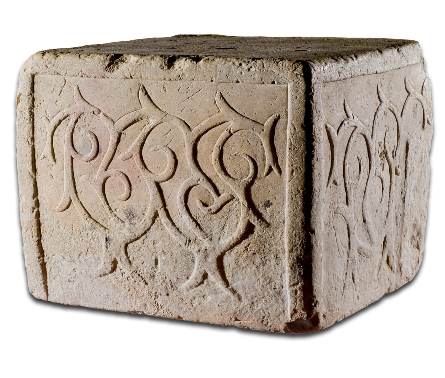 Above A stone block from the Tarxien temples, decorated with a spiralling pattern, 3000-2450 BC. Size: c.80 x 80 x 80cm