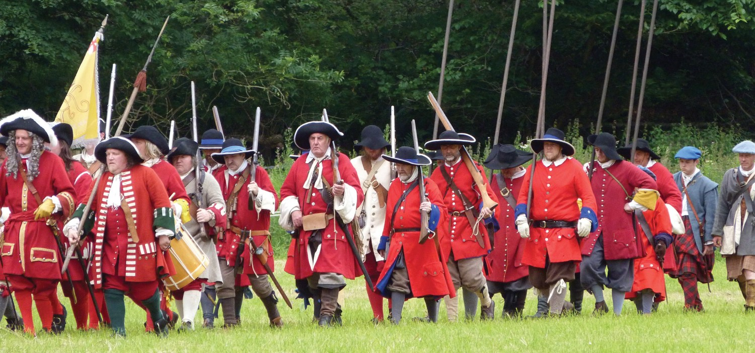 ABOVE A column of Government troops, as formed by re-enactors at Killiecrankie.