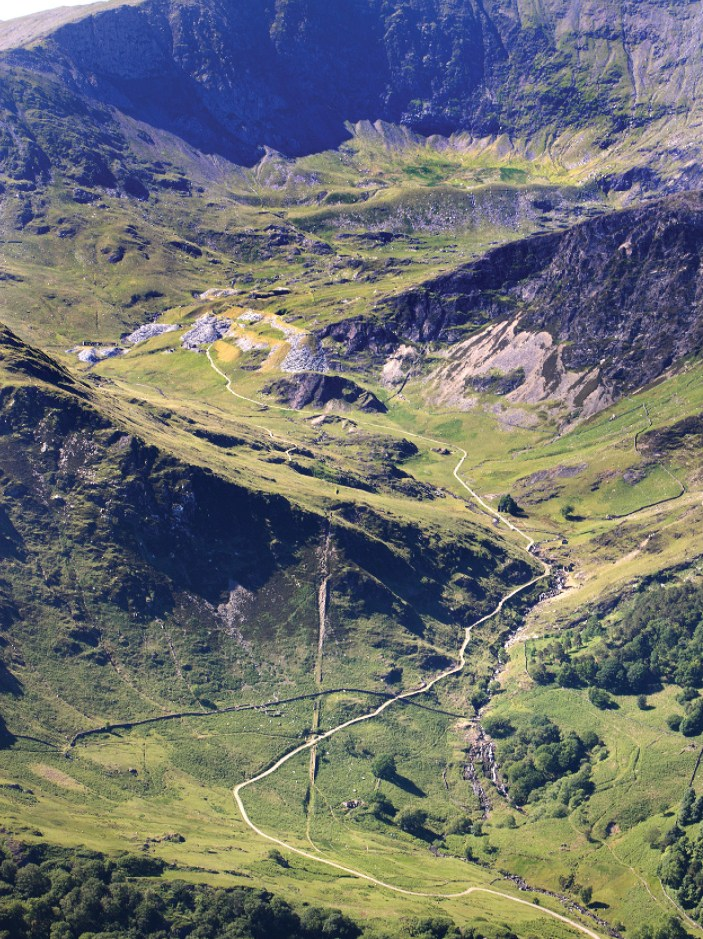 right The remoteness of the Hafod y Llan quarry on the southern flanks of Snowdon means that historic features have been preserved, including the long and winding cart road that was used to transport slate before the industry was mechanised, and the railway that later