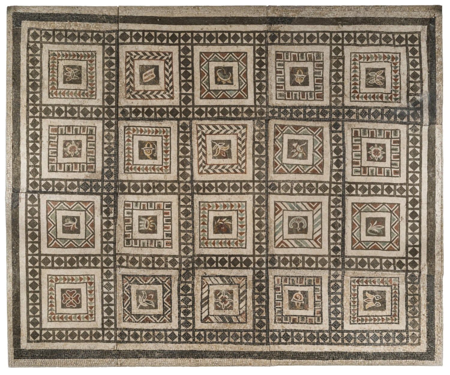 ABOVE Polychrome floor-mosaic with 20 sections, each with a different motif, found in 1886 during the demolition of the Villa Casali. Mid 1st century AD.
