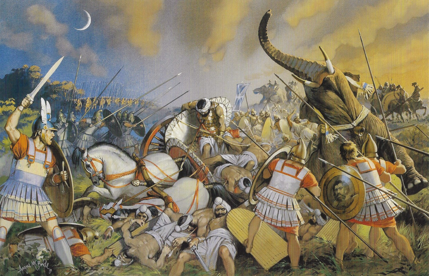 ABOVE The Battle of the Hydaspes, where Alexander fought a pitched battle against the Indian army of Porus, including a traumatic collision with massed elephants.