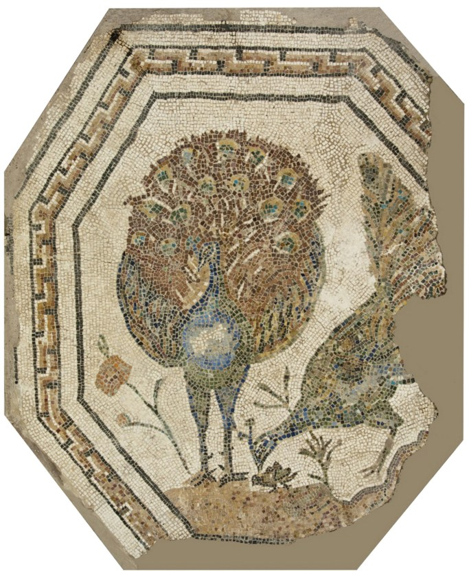 BELOW Polychrome octagonal mosaic with peacocks, found in a tomb along the Appian Way. 2nd century AD.