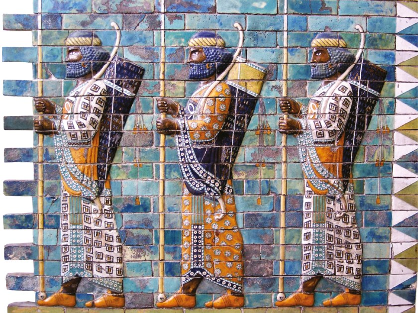 ABOVE Persian warriors of the Great King, as depicted on a frieze formed of glazed brick in the Pergamon Museum. The Persian Empire was the largest yet known, with vast resources of manpower and treasure. But the Greek military system, based on the hoplite phalanx, proved superior to the Persian army.