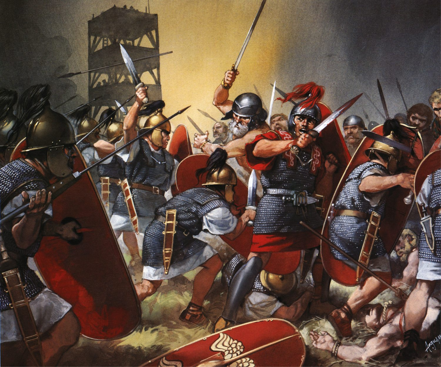 above Roman legionaries in action at the Siege of Alesia in 52 BC.