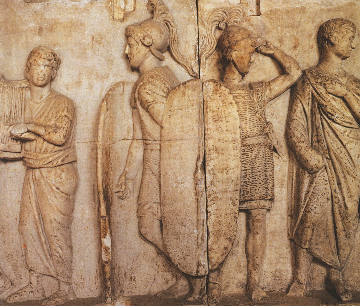 Opposite Roman Republican legionaries, as depicted on the famous altar of Domitius Ahenabarbus. BELOW Map of the Zama campaign, 202 BC.