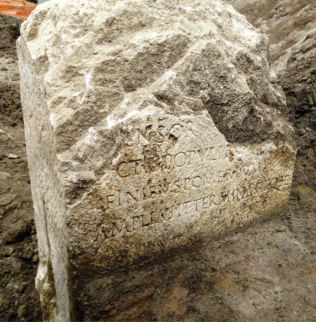 below This 2,000-year-old stone, which once marked the pomerium, the sacred boundary of the ancient city of Rome, was discovered during excavations in the Piazza Augusto Imperatore. It is now on temporary display in the Ara Pacis Museum fittingly, next to a statue of the Emperor Claudius and will eventually be displayed at the Mausoleum of Augustus.