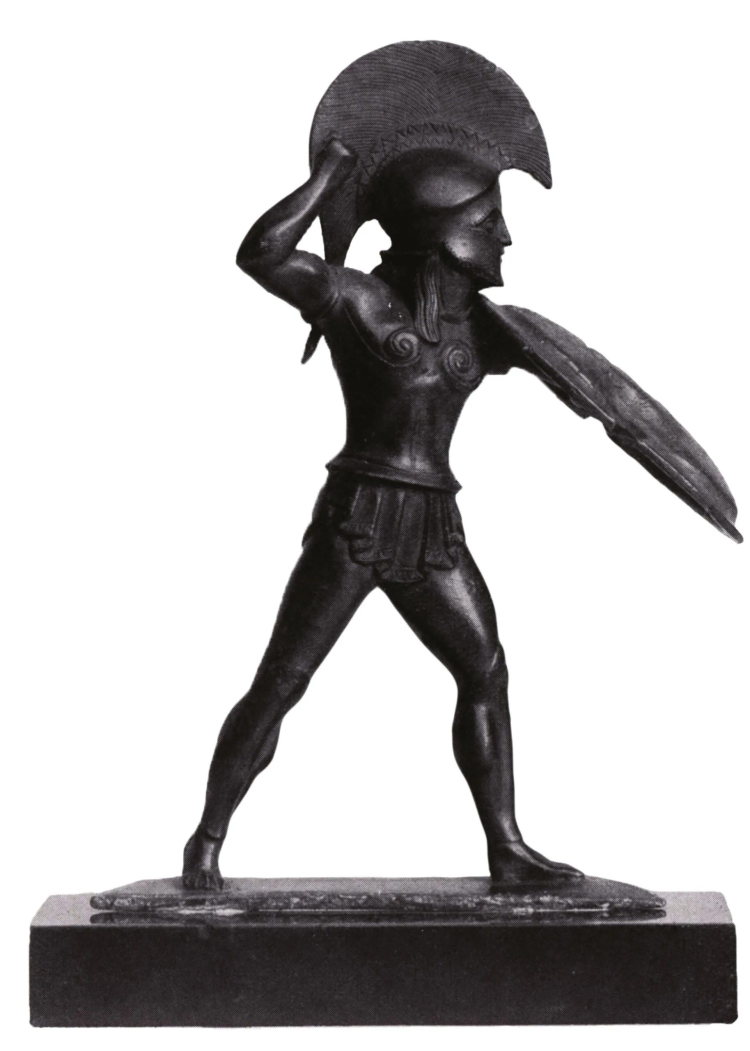 Below Miniature bronze figurine of a Greek hoplite in action. right Persian Immortals, the elite bodyguard troops of the 'King of Kings', as depicted on glazed tiles at the Persian imperial capital at Susa. The Immortals went head to head with the Spartans at Thermopylae, but failed to break through in frontal attack.