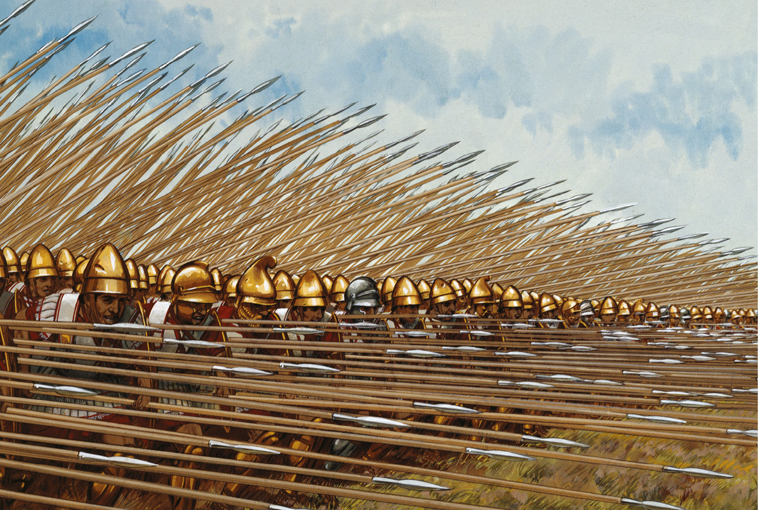 above & left These two reconstructions capture the essential character its strengths and weaknesses of the Macedonian phalanx. In frontal collision over good ground, with several rows of steel blades projecting from its front, it was liable to crush anything in its path. But it was slow, inflexible, liable to become disordered on broken ground, and highly dependent for its security on the integrity of its tight-packed formation. The legion, by contrast, was a more open, mobile, adaptable formation, one in which each man was equipped to take on an individual opponent.