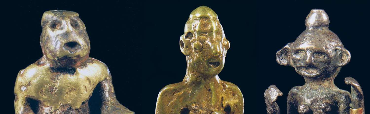 right Ancestor figurines with grotesque features from the Island of Flores.