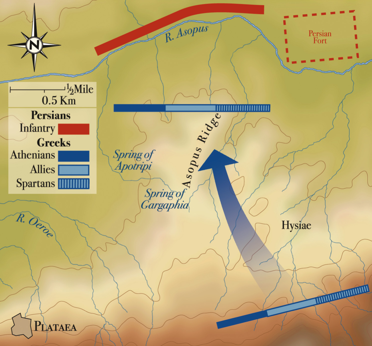 LEFT The Battle of Plataea, 479 BC, showing the initial dispositions of the allied Greek army (TOP) and the new positions taken up following night-marches designed to ease logistical strain and secure communications with Athens (BELOW).