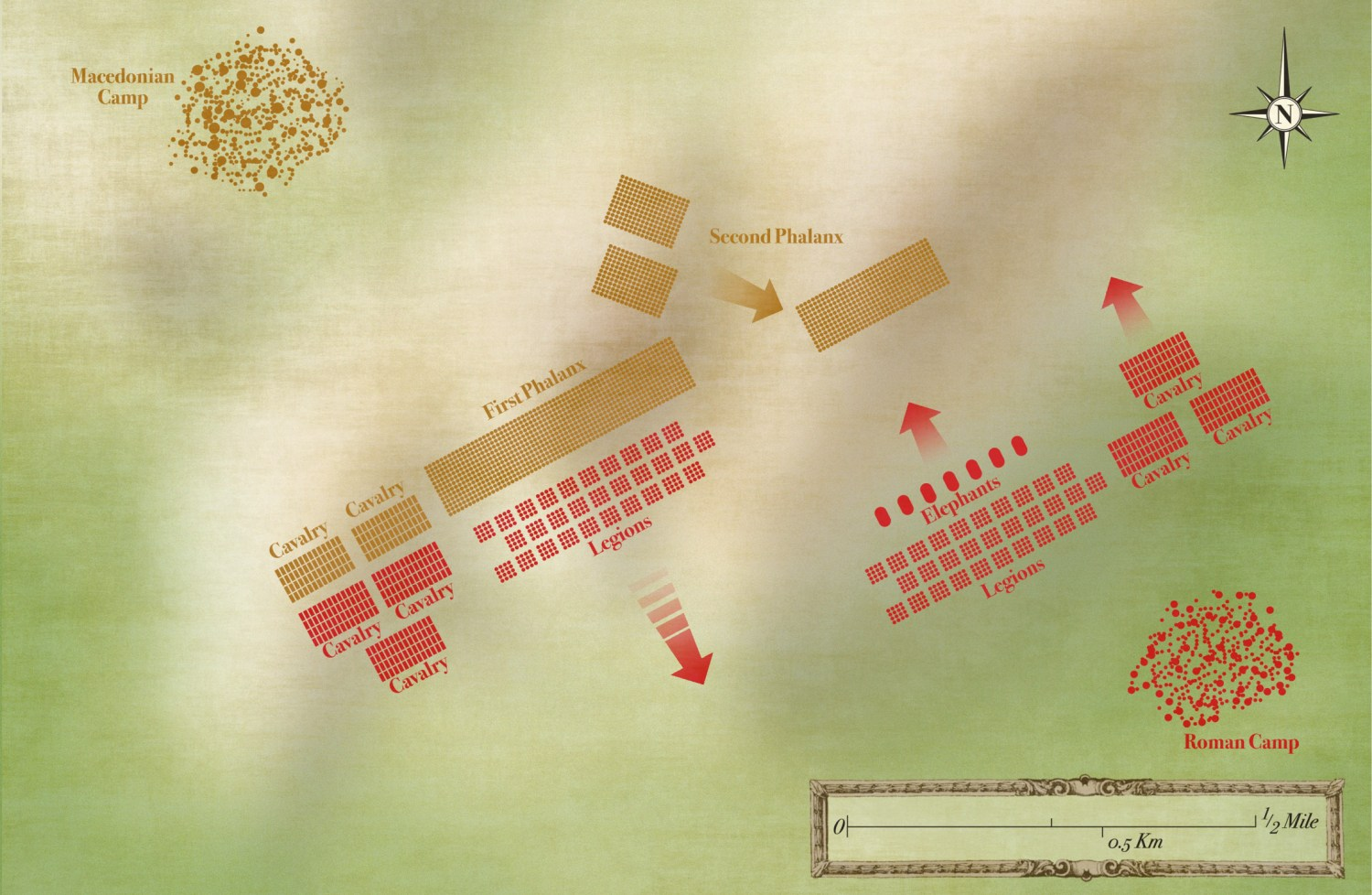 below The Battle of Cynoscephalae: second phase. As the Roman left falls back before the advance of the Macedonian phalanx, the Roman commander launches a massed counter-attack on the right, led by elephants, just as the other half of the Macedonian army also comes into action on that wing.