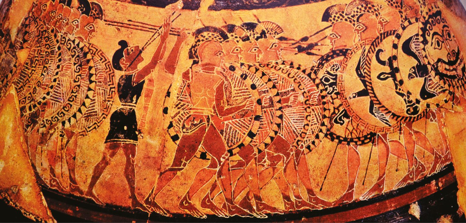 below The famous Chigi vase (a Greek vase- painting from an Etruscan tomb) shows a hoplite phalanx in motion, advancing to the music of a pipe-player.