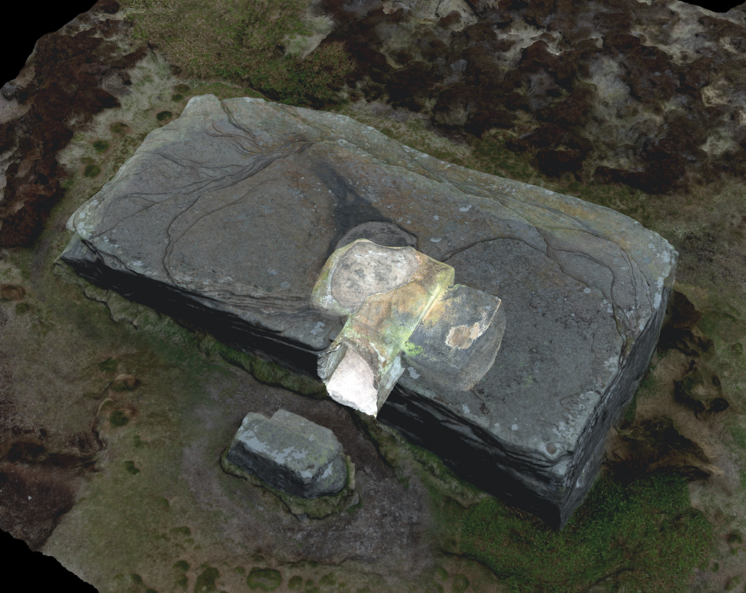 above Some of Orkney's chambered tombs do not fit into easy classifications, such as the rock-cut Dwarfie Stane (left) and the Holm of Papa Westray South (right), which has side cells leading off a huge central chamber that is itself subdivided by two enormous cross-walls.