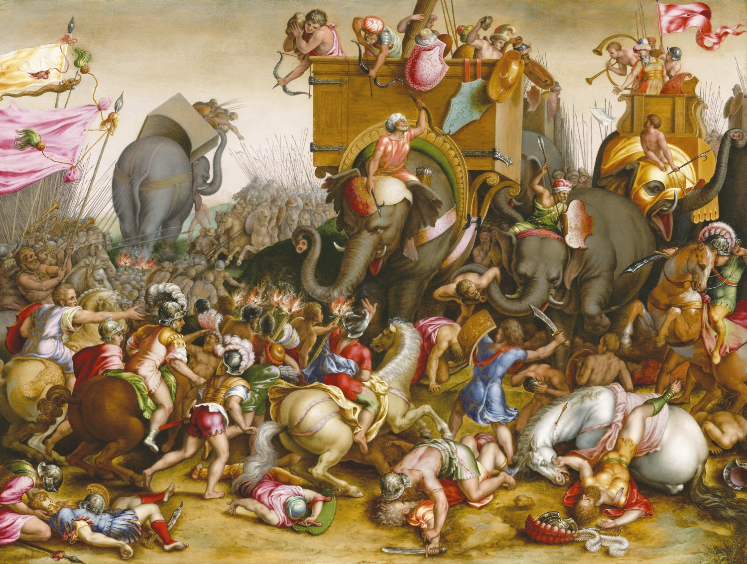 Below The Battle of Zama, 202 BC. Detail from a painting by Cornelis Cort, c.1567.