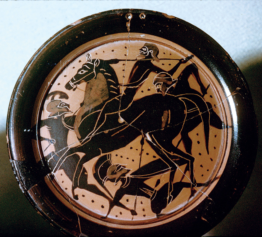 Right A 6th century BC black-figure vase painting showing Greek cavalry in action against opposing hoplites. Cavalry could not break a phalanx, but they could deal with opposing cavalry and light infantry, they could threaten the flanks and rear of a phalanx, and they could, of course, pursue a broken enemy. (They did not fight naked: the convention of 'heroic' nakedness in Greek art as here should not be confused with military reality.)