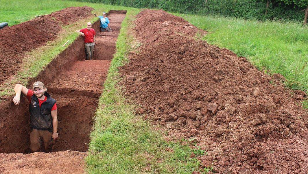 RIGHT Excavating the three ditches of the fort.