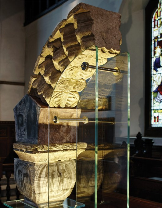 above Last year, Hyde900 recovered over 300 fragments of medieval painted window glass from a high-status building within the abbey precinct. below In 2017, the project uncovered a series of early 12th-century voussoirs, which have since been reconstructed and are now displayed in Winchester City Museum.