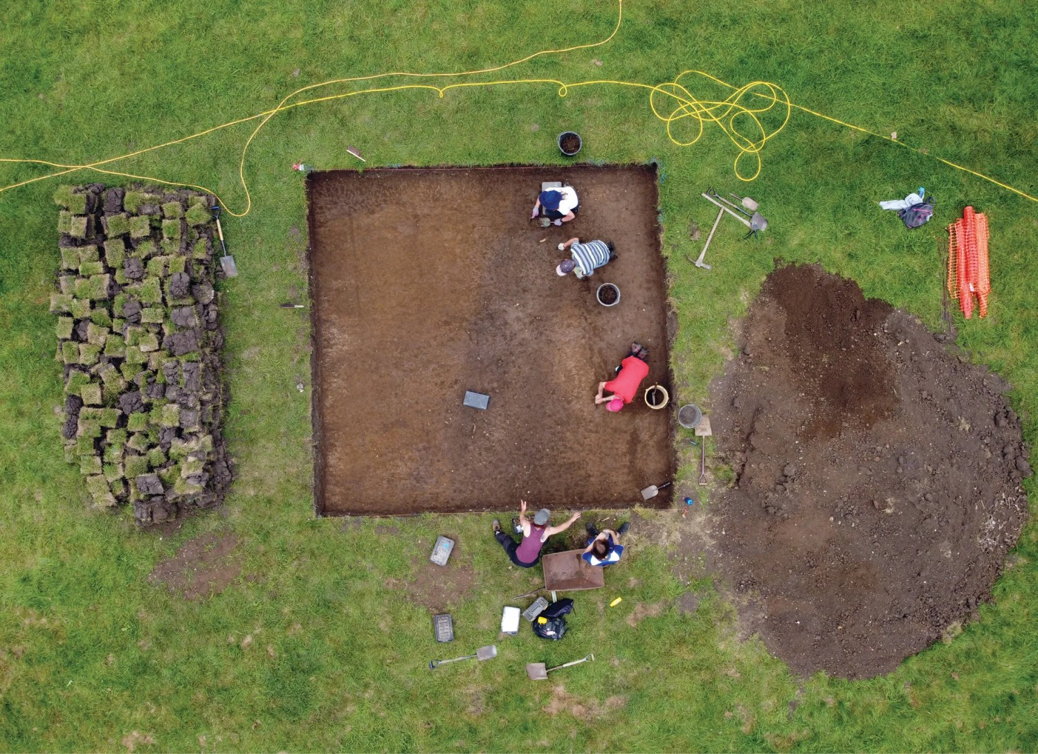 above The trenches opened at Cookham revealed sections of boundary ditches dividing the landscape into distinct zones, some of which were dedicated to domestic activities, and others to industry.