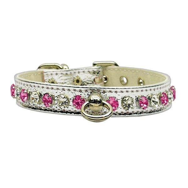 Deluxe Rhinestone Dog Collar - Silver with Pink Stones | The Pet Boutique