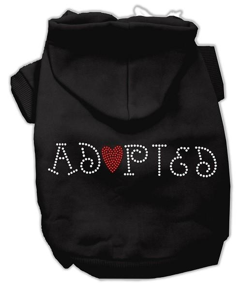 Adopted Rhinestone Dog Hoodie - Black | The Pet Boutique