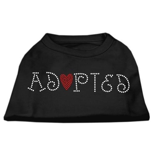 Adopted Rhinestone Dog Shirt - Black | The Pet Boutique
