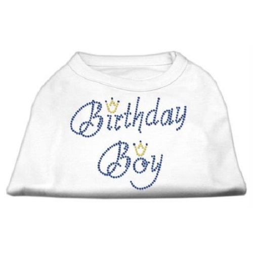 Birthday Boy Rhinestone Dog Shirt - White | The Pet Boutique