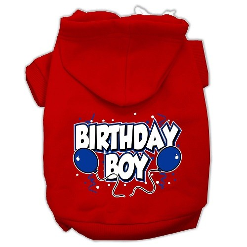 Birthday Boy Screen Print Pet Hoodie - Red   The Pet Boutique