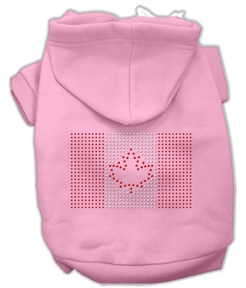 Canadian Flag Rhinestone Dog Hoodie - Pink | The Pet Boutique