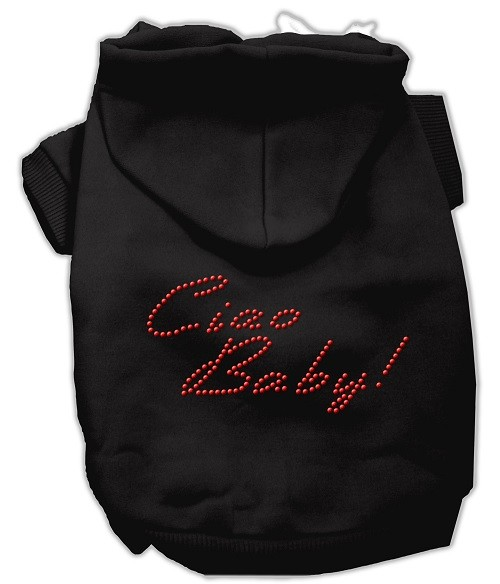 Ciao Baby Rhinestone Dog Hoodie - Black | The Pet Boutique