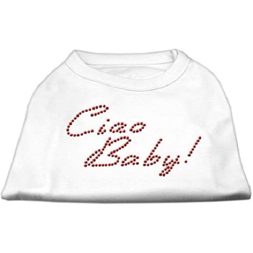 Ciao Baby Rhinestone Dog Shirt - White | The Pet Boutique