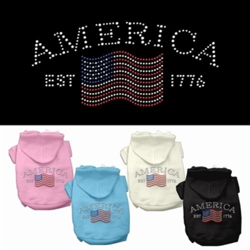 Classic American Rhinestone Dog Hoodie | The Pet Boutique