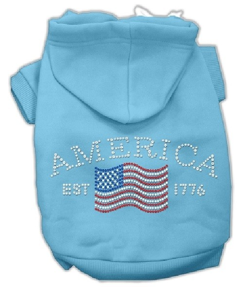 Classic American Rhinestone Dog Hoodie - Baby Blue | The Pet Boutique