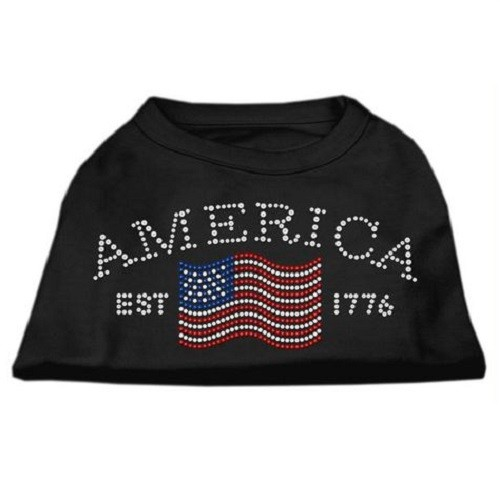 Classic American Rhinestone Dog Shirt - Black | The Pet Boutique