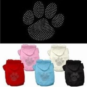Clear Rhinestone Paw Dog Hoodie | The Pet Boutique