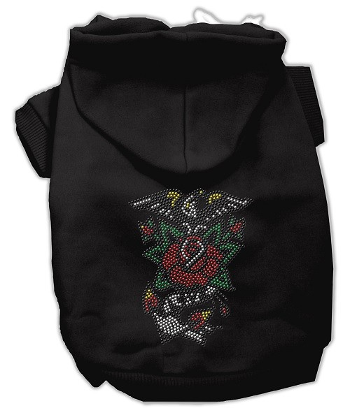 Eagle Rose Nailhead Rhinestone Dog Hoodie - Black | The Pet Boutique