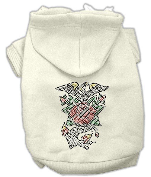 Eagle Rose Nailhead Rhinestone Dog Hoodie - Cream | The Pet Boutique